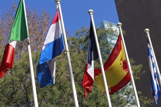 Banderas, bandera de Grecia, España, Francia, Croacia, Italia