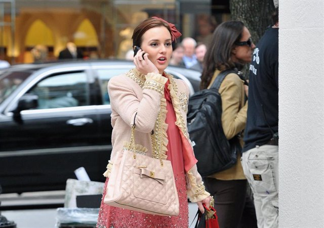 """Actress Leighton Meester on the set of """"Gossip Girl"""" outside Milly Madison Avenue"""
