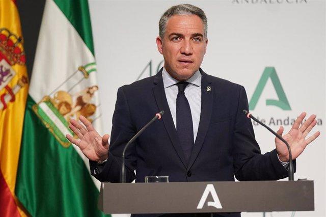 El consejero de la Presidencia, Administración Pública e Interior y portavoz del Gobierno andaluz, Elías Bendodo, en una foto de archivo.
