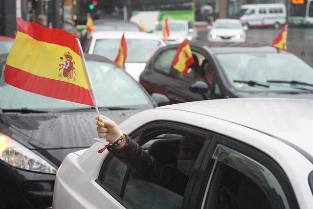 Manifestación de Vox en Bilbao (País Vasco) para pedir la dimisión del Gobierno por su gestión de la pandemia.