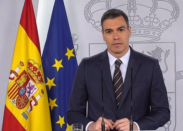 El president del Govern, Pedro Sánchez, durant la roda de premsa del 23 de maig en Moncloa