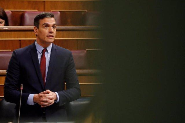 El presidente del Gobierno, Pedro Sánchez, durante su intervención en del debate, este miércoles en el Congreso
