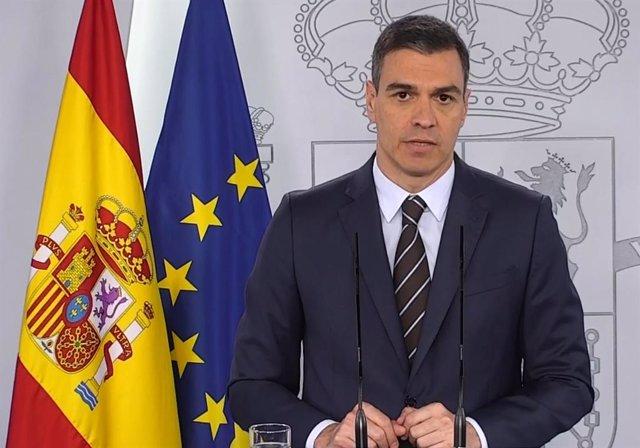 El presidente del Gobierno, Pedro Sánchez, durante su comparecencia del sábado 23 de mayo de 2020