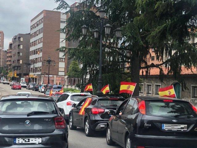 Manifestantes participan en la concentración convocada por Vox en Oviedo.