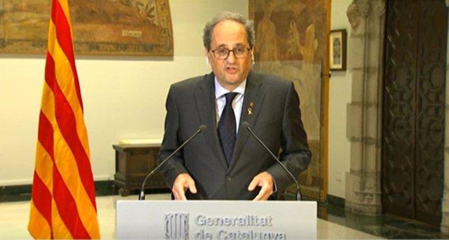 El president de la Generalitat, Quim Torra, durant una compareixença des del Palau de la Generalitat el 23 de maig de 2020.
