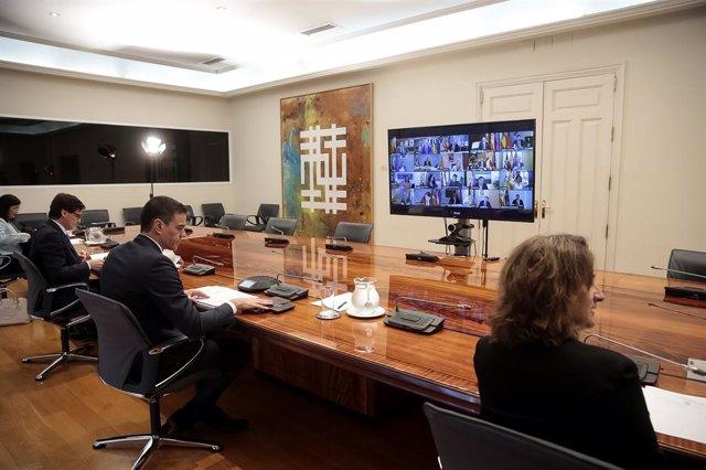 Pedro Sánchez se reúne por videoconferencia con los presidentes autonómicos. Junto a él están los ministros Teresa Ribera (d1), Salvador Illa (i2) y Carolina Darias (i1)