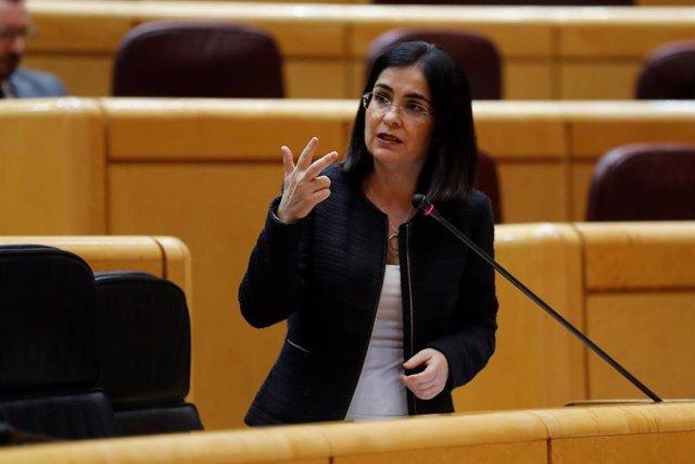 La ministra de Política Territorial y Función Pública, Carolina Darias, en el Senado, en Madrid (España) a 21 de abril de 2020.