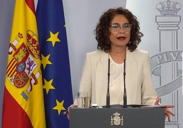 Rueda de prensa telemática de la ministra de Hacienda y portavoz del Gobierno, María Jesús Montero.