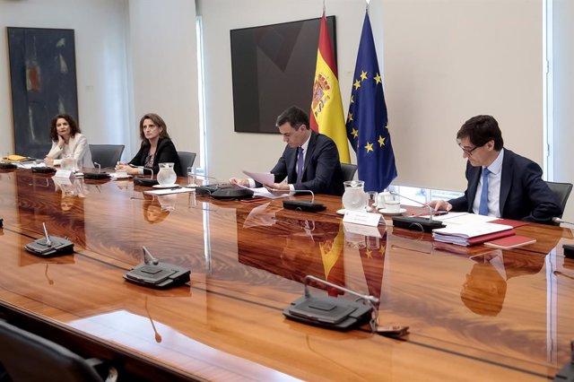 El president del Govern, Pedro Sánchez, es reuneix per videoconferència amb els presidents autonòmics.