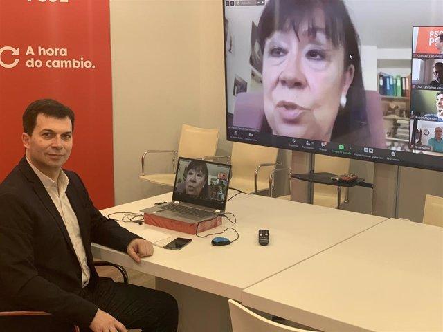 El líder del PSdeG, Gonzalo Caballero, en un encuentro virtual con su militancia y la presidenta del PSOE, Cristina Narbona