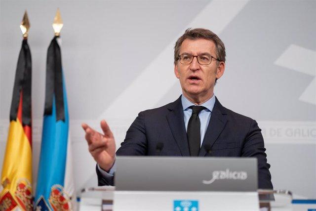El titular del Gobierno de la Xunta, Alberto Núñez Feijóo, en la rueda de prensa posterior al Consello en el que ha convocado elecciones para el 12 de julio