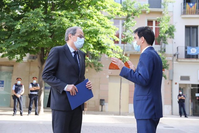 El presidente de la Generalitat, Quim Torra, y el alcalde de Igualada, Marc Castells.