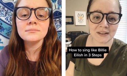 Una joven enseña los pasos a seguir para cantar como Ariana Grande, Billie Eilish y Celine Dion en TikTok