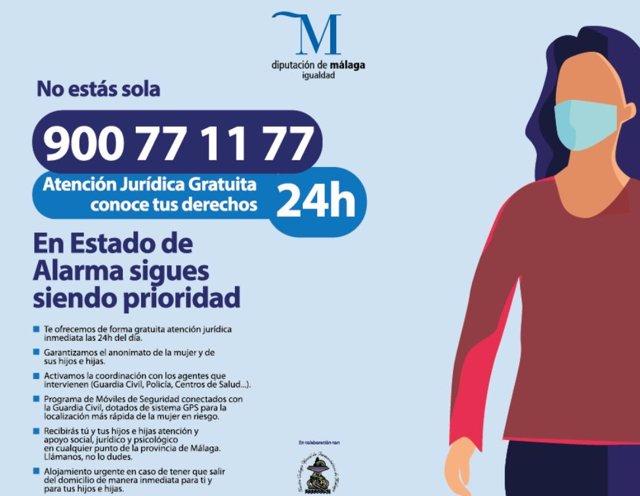 Cartel de la Diputación de Málaga para la atención a mujeres víctimas de violencia de género