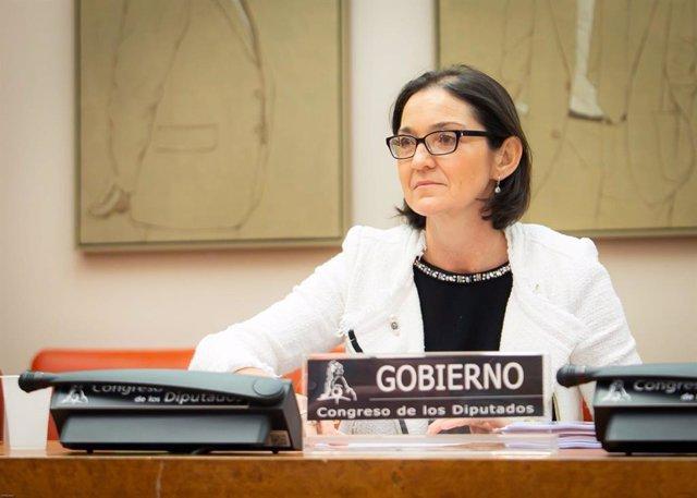 La ministra de Industria, Comercio y Turismo, Reyes Maroto, durante su intervención en la Comisión de Industria, Comercio y Turismo
