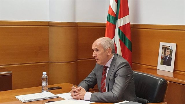 El portavoz del Gobierno Vasco, Josu Erkoreka, en la reunión por videoconferencia con la ministra Carolina Darias
