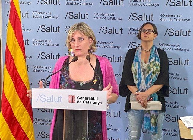 La consellera de Salut, Alba Vergés, durant una roda de premsa el 22 de maig del 2020, acompanyada de la coordinadora de les residències i directora assistencial de l'atenció primària de l'Institut Català de la Salut, Yolanda Lejardi.