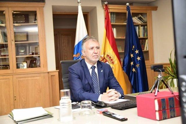 El presidente de Canarias, Ángel Víctor Torres, durante la reunión de presidentes autonómicos de este domingo, 24 de mayo