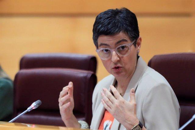 La ministra d'Afers Exteriors, Unió Europea i Cooperació, Arancha González Laya, en la Comissió d'Afers Exteriors del Senat, Madrid (Espanya), 21 de maig del 2020.