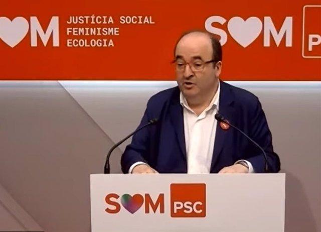 El primer secretario del PSC, Miquel Iceta, en rueda de prensa telemática.