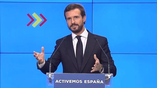Rueda de prensa del líder del PP, Pablo Casado