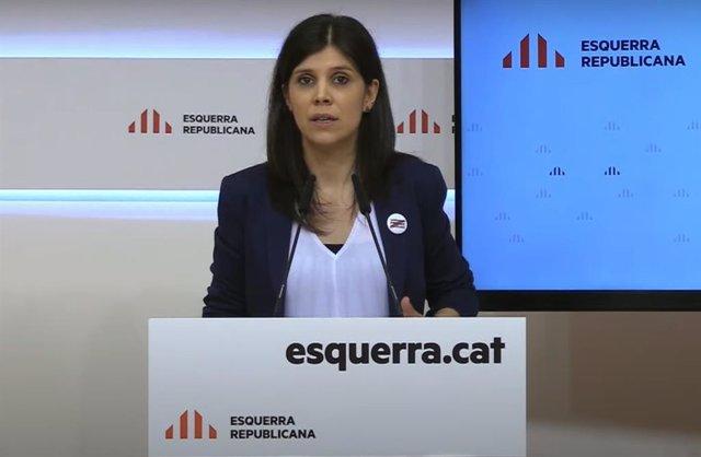 La secretaria general adjunta y portavoz de ERC, Marta Vilalta, en rueda de prensa telemática.