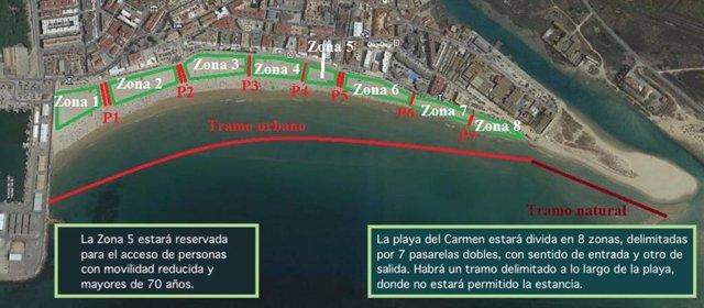 Imagen de la playa del Carmen de Barbate, dividida en ocho zonas