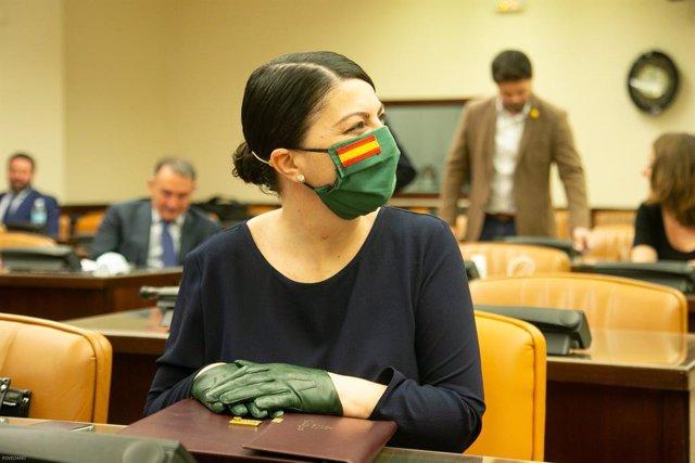 La diputada de Vox Macarena Olona, en la Comissió d'Interior del Congrés