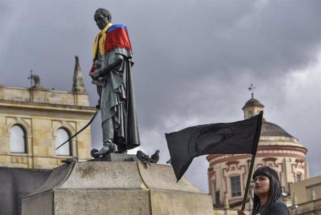 Protesta en Bogotá contra el presidente colombiano, Iván Duque
