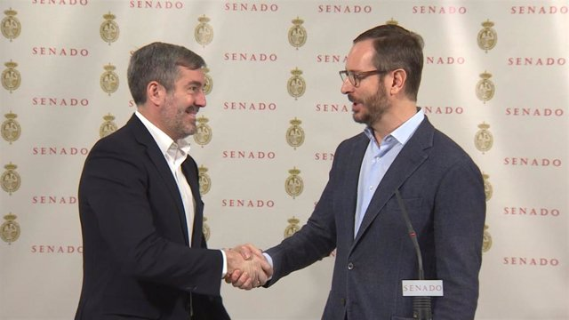 Los portavoces de PP y Coalición Canaria en el Senado, Javier Maroto y Fernando Clavijo, en una imagen de archivo.