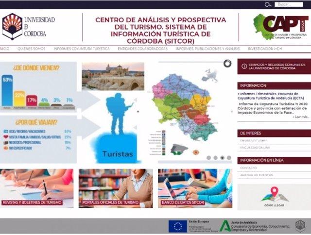 Web del Centro de Análisis y Prospectiva del Turismo de Córdoba