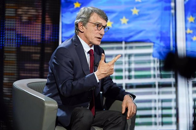 """HANDOUT - 25 April 2020, Belgium, Brussels: European Parliament President David Sassoli takes part in the """"La faute  L'Europe"""" television program. Photo: Daina Le Lardic/European Parliament/dpa - ATTENTION: editorial use only and only if the credit men"""