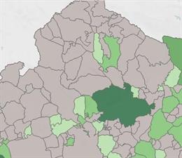 La inmensa mayoria de los municipios de Córdoba (en gris) no han registrado casos de Covid en la Fase 1