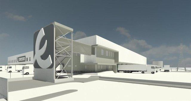 Montaje de la nueva plataforma logística de Eroski en Vitoria.