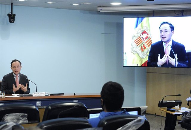 El cap de Govern, Xavier Espot, a la sala de premsa de l'edifici administratiu del Govern.