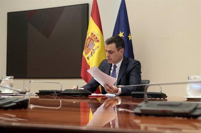 El presidente del Gobierno, Pedro Sánchez, se reúne por videoconferencia con los presidentes autonómicos, en Madrid (España) a 24 de mayo de 2020.