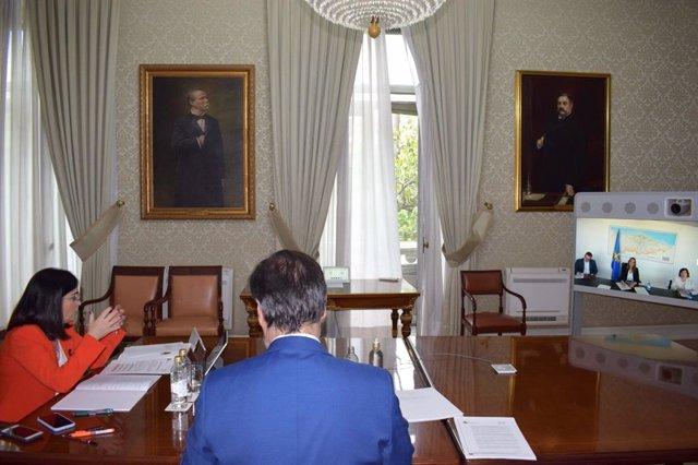 La Ministra Carolina Darias se reúne con la consejera de Presidencia de Asturias, Rita Camblor, por videoconferencia.