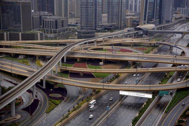 La ciudad de Dubái, en Emiratos Árabes Unidos (EAU), durante el confinamiento a causa de la pandemia de coronavirus