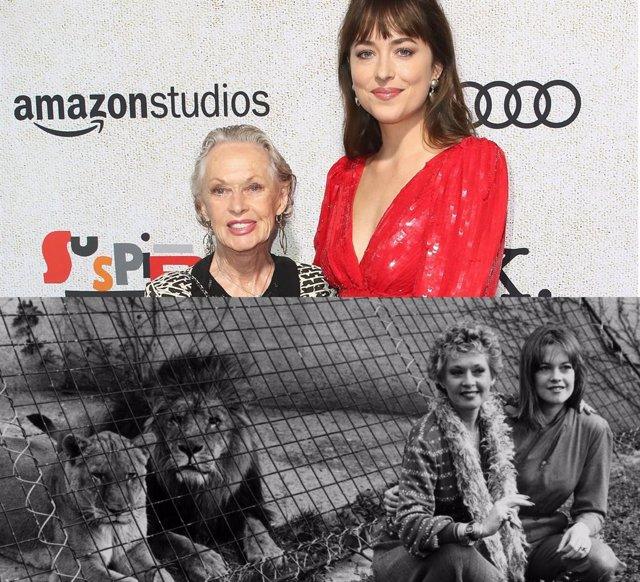 Dakota Johnson confirma que su abuela Tippi Hedren aún vive con 13 o 14 leones y tigres