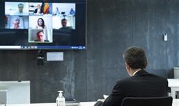 El ministro de Ciencia e Innovación, Pedro Duque, en la videoconferencia con los responsables de cuatro proyectos de innovación empresarial frente al COVID-19, financiados por el CDTI
