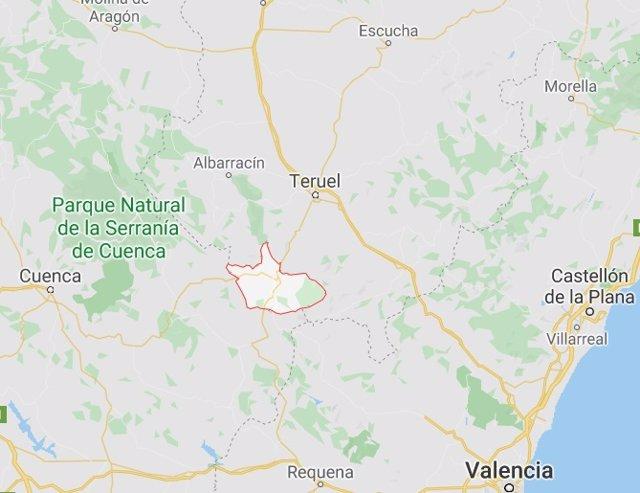 La comarca valenciana del Rincón de Ademuz (en rojo)