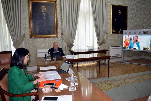 La a ministra de Política Territorial y Función Pública, Carolina Darias, se ha reunido por videoconferencia con  la consellera de Justicia, Interior y Administración Pública de la Comunitat Valenciana, Gabriela Bravo