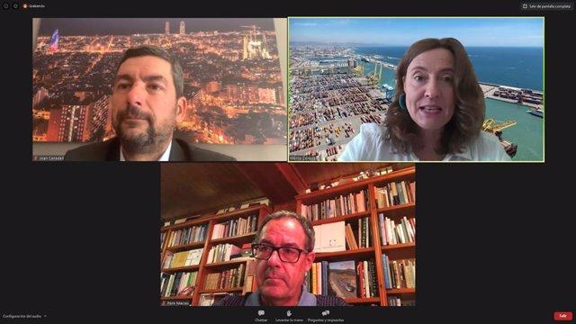 El president de la Càmera de Barcelona, Joan Canadell; la presidenta del Port de Barcelona, Mercè Conesa, i el president del Cercle d'Infraestructures, Pere Macias.