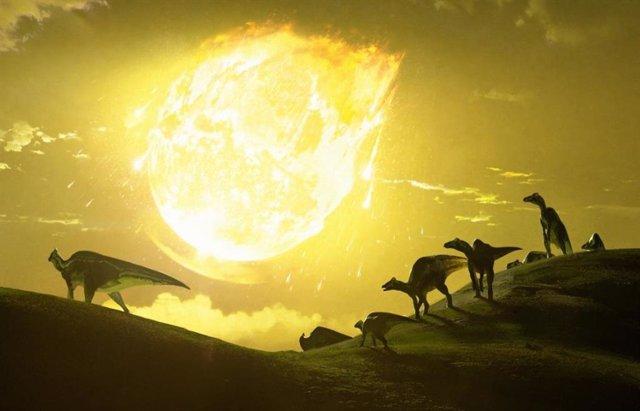 Ilustración del evento que acabó con los dinosaurios