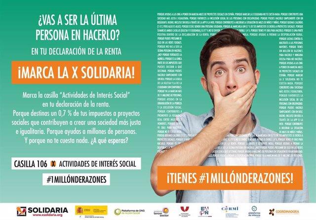 Asociaciones piden que se marque la 'X Solidaria'