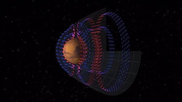 Visualización de corrientes eléctricas en la atmósfera de Marte