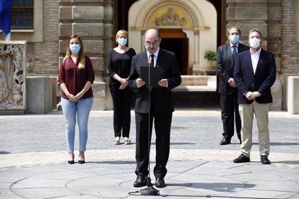El Ejecutivo aragonés recuerda a las víctimas de la pandemia con un minuto de silencio