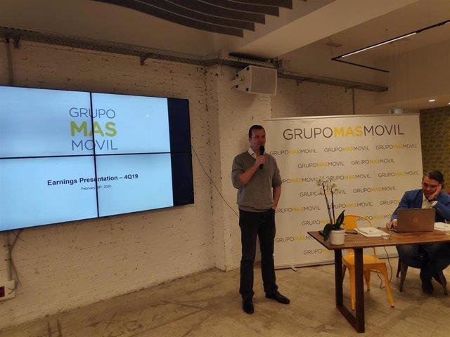 El consejero delegado de MásMóvil, Meinrad Spenger, en la presentación de los resultados de 2019