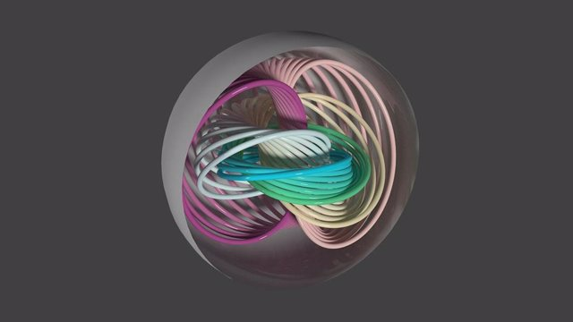 La imagen describe las líneas de polarización dentro de una partícula ferroeléctrica