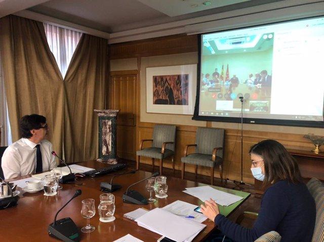 El ministro de Sanidad, Salvador Illa, mantiene una videoconferencia con el consejero madrileño del ramo